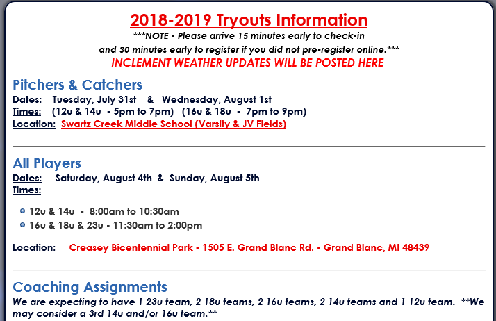 2018-2019 Tryouts Information & Registration